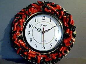 Amazon Com Hot Chili Pepper 3 D Surrounded Wall Clock