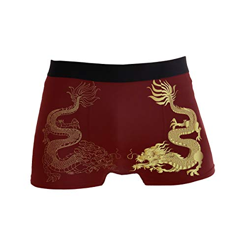 ZZKKO Golden Dragon Mens Boxer Briefs Underwear Breathable Stretch Boxer Trunk with Pouch - Ancient Chinese Dragon