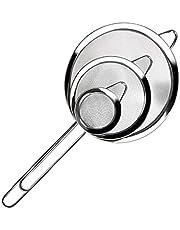 Roestvrij staal fijn gaas zeef Set van 3, roestvrij staal lange steel meel zeef, roestvrij staal vergiet, voor het bakken en koken van meel Quinoa thee sap hete pot (7/12/18cm)