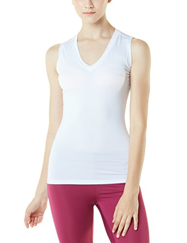 TSLA 1~2 Pack Women's Dri Racerback Workout Cool Fitness Tank Top Shirt, V Neck(fuv06) - White, Medium.
