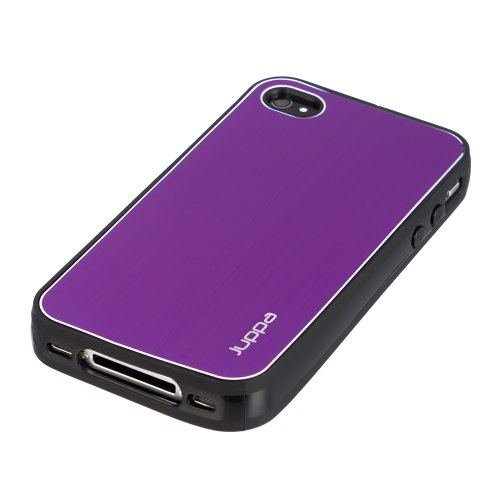 Juppa ® TPU-Außenschale Hülle mit Aluminium Backplate Hartschale für Apple iPhone 4 4S - Lila