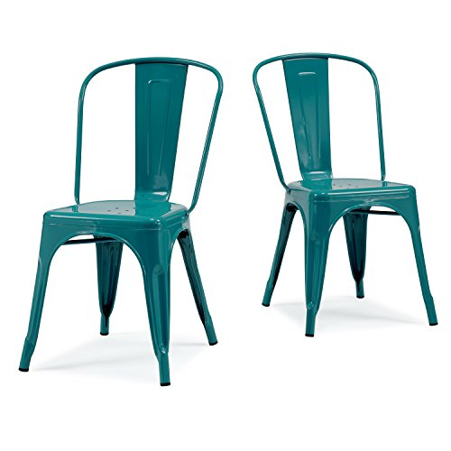 Set of 2 Turquoise French Bistro Metallic Steel Xavier Pauchard Tolix a Style Chairs in Powder Coat Includes Modhaus Living (TM) Pen - Chrome Metallic Chair