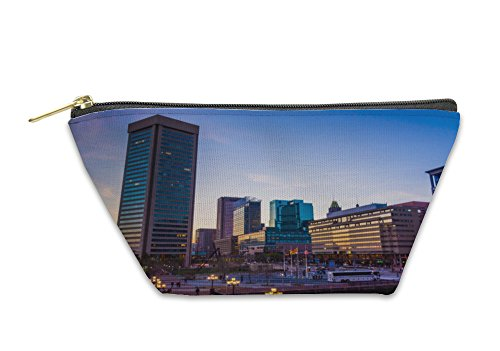 Gear New Accessory Zipper Pouch, The Skyline At Sunset At The Inner Harbor In Baltimore Marylan, Large, - Inner Baltimore Harbor Shops In