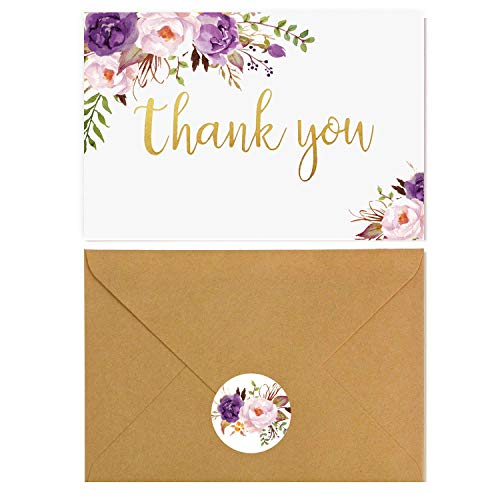 Lavender And Gold Wedding (60 Thank You Cards with Envelopes - Gold Foil watercolor Boho Floral - Perfect For Wedding, Baby shower, Bridal Shower-3.75'' x 5'' blank on)