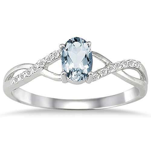 Aquamarine and Diamond Twist Ring in 10K White Gold Aquamarine 10k Gold Ring