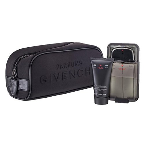 Gel Perfume Givenchy (Givenchy Play Intense 3 Piece Gift Set with Pouch for Men)