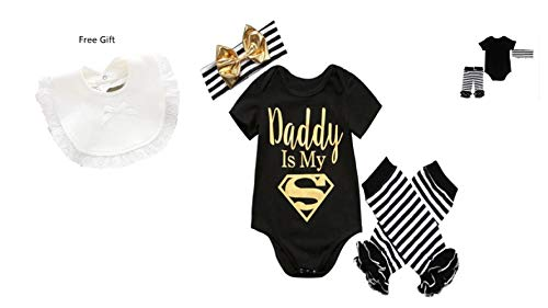 1 2 Buckle My Shoe Daddy is My Superman Onesie with Headband and/Free Bib (3 Months) -