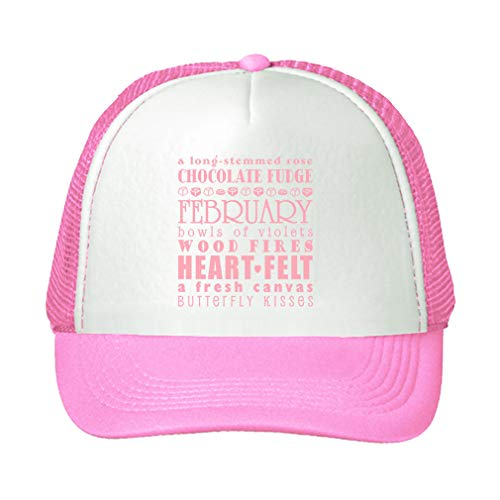 Trucker Hat Long Stemmed Rose Chocolate Fudged February Bowls Polyester Baseball Mesh Cap Snaps Pink/Pink One Size
