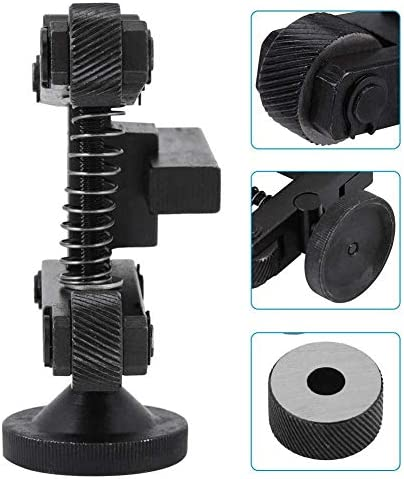 Mnjin Adjustable Knurling Tool Holder, Holder Linear Knurl Tool Lathe Adjustable Shank with Wheel for Mini Lathe with 4 x Spare knurling Wheels