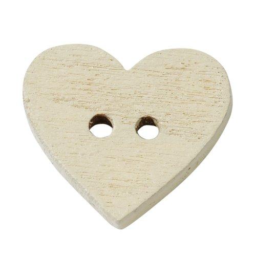 Holzknopf Herz ca. 1 cm, Btl. a 40 Stück,creme
