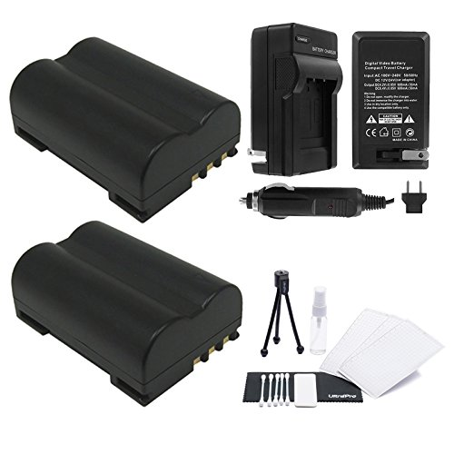 2-Pack BLM-1 High-Capacity Replacement Batteries with Rapid Travel Charger for Select Olympus Digital Cameras. UltraPro Bundle Includes: Camera Cleaning Kit, Screen Protector, Mini Travel - Tripod E300