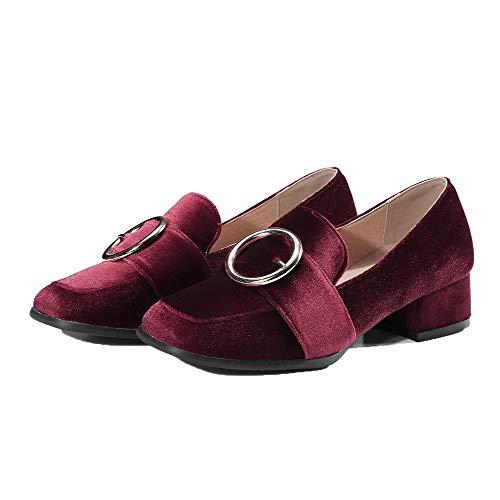 Femme Chaussures Suédé Légeres Tsfdh003529 Bas À Talon Aalardom Couleur Vineux Rouge Unie F1U7ZZ