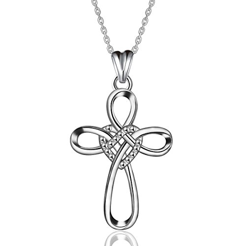 AEONSLOVE 925 Sterling Silver Celtic Knot Cross Infinity Eternal Love Necklace Pendant for Women, 18'' Chain Jewelry Gifts - Eternal Love Cross