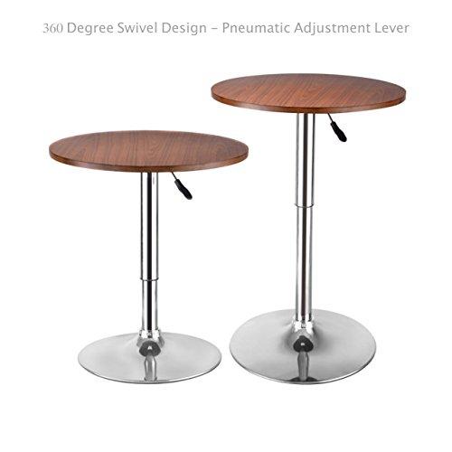 Modern Sleek Design Round Wood Bar Table Height Adjustable 360 Degree Swivel Durable Chromed Steel Base Kitchen Dining Room Home Office Furniture - Set of 2 Brown #1641 (Bedroom Melbourne Fl Furniture)