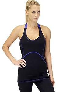 X by Gottex Women Adjustable Halter Workout Yoga Sport Active Athletic Base Layer Sleeveless Shirt Tank Top (Black/Blue, XS)