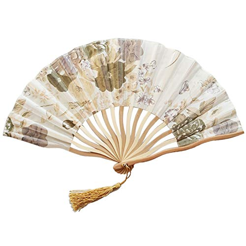 Chinese Style Hand Held Fan Bamboo Paper Folding Fan Party Wedding Decor Handheld Folded Circular Paper Fan for Wedding Party,J