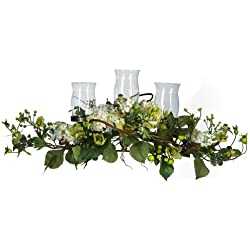 Nearly Natural 4634-CR Hydrangea Triple Candleabrum Centerpiece, Cream