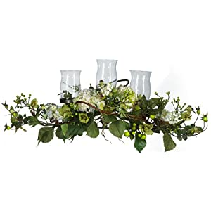 Nearly Natural 4634-CR Hydrangea Triple Candleabrum Centerpiece, Cream 70