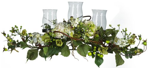 - Nearly Natural 4634-CR Hydrangea Triple Candleabrum Centerpiece, Cream