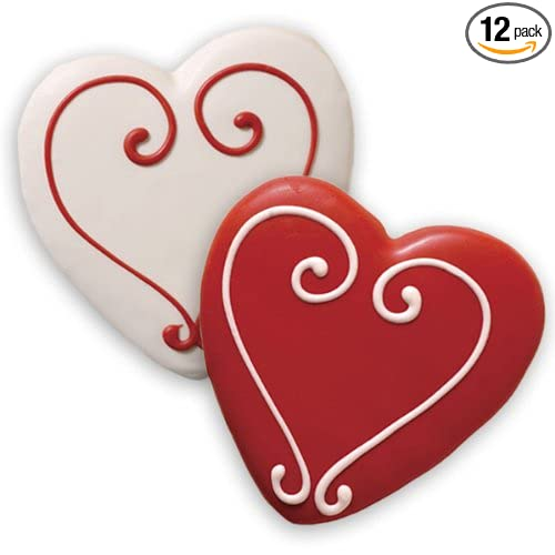 amazoncom decorated sugar cookies valentines heart shape by merlino baking pack of 12 - Decorated Valentine Cookies