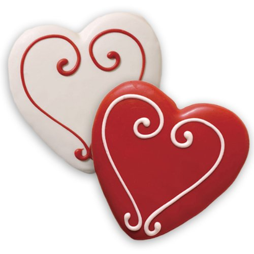 valentine decorated sugar cookies - valentine day decorated cookies - Decorated Sugar Cookies - Valentine's Heart Shape - by Merlino Baking (Pack of 12)