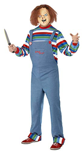 Smiffy's Men's Chucky Costume, Top, Dungarees & Mask, Size: S, Colour: Blue, ()