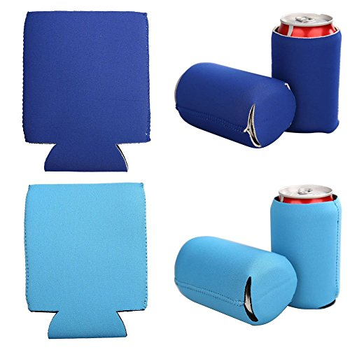 E-Living 330ML (12 OZ) Collapsible Neoprene Can/Beer/Bottle/Beverage Cooler/Coolie/Cover/Insulator/Holder/Huggie/Sleeve for Cola/Beer/Soda - 6 Pack (Bluish)
