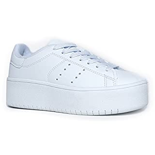 J. Adams Hero Platform Sneakers for Women - Casual Lace Up Fashion Tennis Shoes White