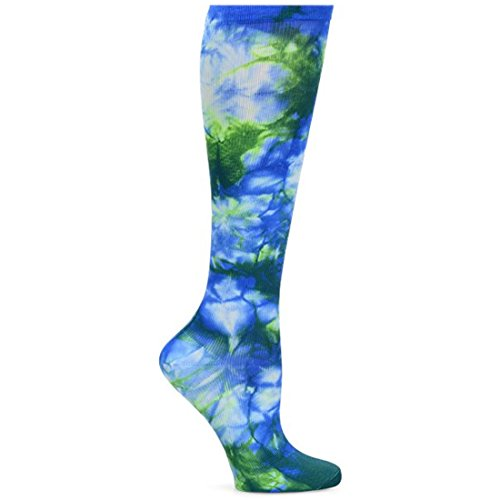 Nurse Mates Women's 12-14 Mmhg Wide Calf Compression Trouser Sock Royal Green Tie Dye