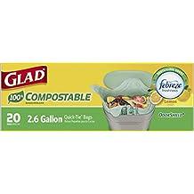 Glad 100% Compostable OdorShield Quick-Tie Small Trash Bags, Lemon Scent, 2.6 Gallon, 20 Count