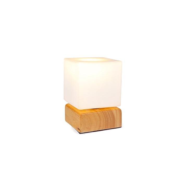 GJ Moda luz de noche de madera creativa simple Moderna lámpara de mesa Cama lámpara de cabecera cálida lámpara de mesa de hielo: Amazon.es: Hogar