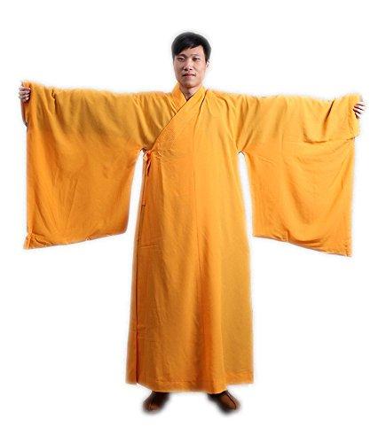 ZooBoo Shaolin Unisex Monk Kung fu Robe Costume Long Gown Suit (XXS/150, Yellow)