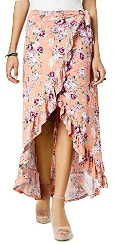 Ultra Flirt Juniors Ruffled High-Low Maxi Skirt Pretty Rose Bloom -
