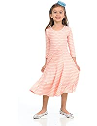 Honey Vanilla Girls' Princess Seam A-Line Dress with Full Skirt and Easy Removable Label