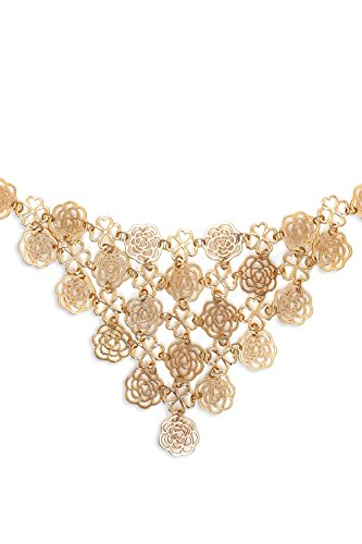 [Flower Bib Necklace Metal Choker Collar Bling Charms Statement Necklaces For Women (yellow, golden)] (Tangled Costume Ideas)