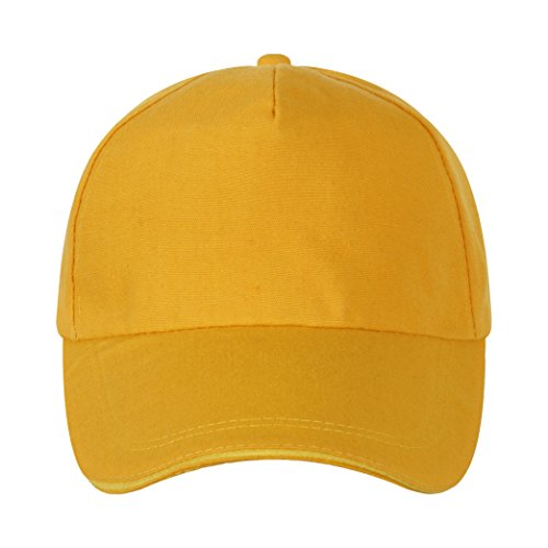 WINTECH Unisex Simple Baseball Cap Hat 100% Cotton Adjustable Plain Hat(can customized) (Yellow)