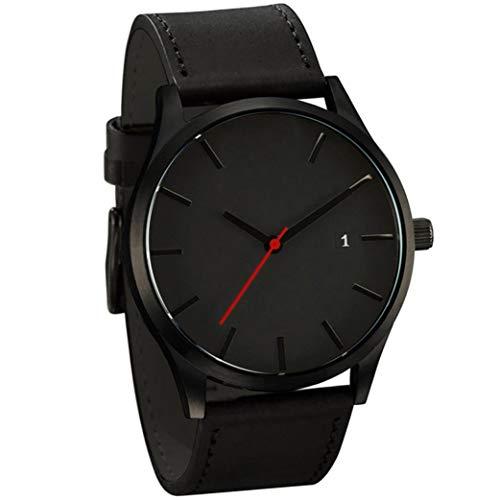 LsvtrUS Popular Low-Key Men's Quartz Wristwatch Minimalist Connotation Leather Watch (Black)