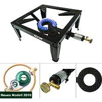CAGO 4 Fuss Turbo 10,5 kW Gas Hockerkocher Gasbrenner Manometer-Gasregler Gasschlauch Räucherofen