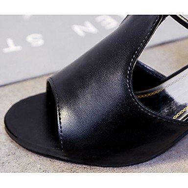 LvYuan Mujer Sandalias PU Verano Paseo Purpurina Tacón Robusto Blanco Negro 7'5 - 9'5 cms Black
