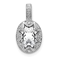 Rhodium Plated Diamond and White Topaz Pendant