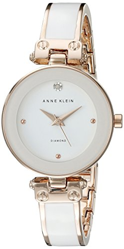 Anne Klein Women's AK/1980WTRG Diamond-Accented Dial White and Rose Gold-Tone Bangle Watch ()
