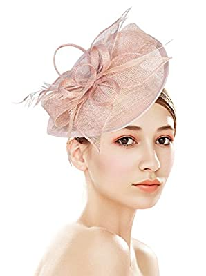 Z&X Sinamay Fascinator Pillbox Hat Headband Hair Clip for Cocktail Tea Party