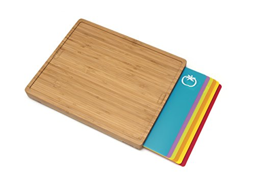 "Lipper International 8869 Bamboo Wood Cutting Board with 6 Colored Poly Inlay Mats, 16"" x 13-1/8"" x 1-5/8"""