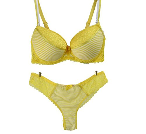 Hotom Store Women Sexy Underwear Sets Seamless Lingerie Side Gathering Push Up Bra Embroidery Bra&Panties Yellow 42 (Straps Yellow Bra)