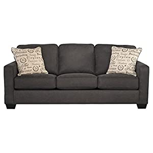 Ashley Furniture Alenya Sleeper Sofa with 2 Throw Pillows Queen Size Vintage Casual Charcoal
