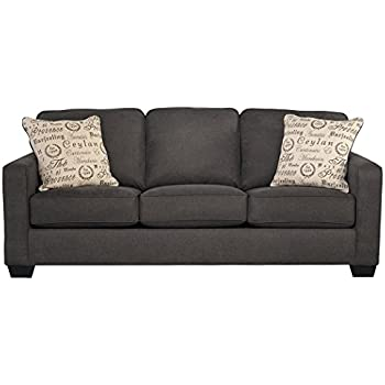 Ashley Furniture Signature Design - Alenya Sleeper Sofa with 2 Throw Pillows - Queen Size - Vintage Casual - Charcoal