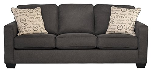 - Ashley Furniture Signature Design - Alenya Sleeper Sofa with 2 Throw Pillows - Queen Size - Vintage Casual - Charcoal