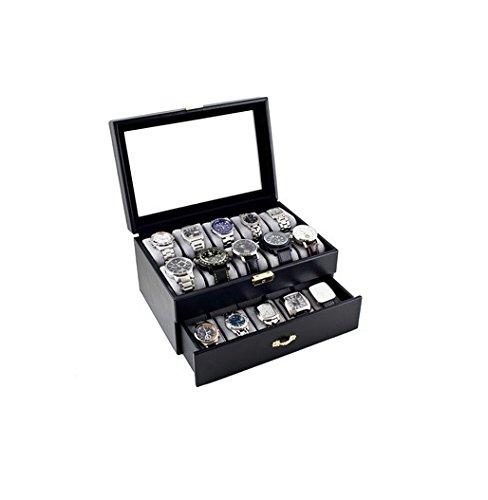 キャディベイコレクションブラッククラシック腕時計ケース表示ボックスwithクリアガラストップHolds 20 Watches withマイクロファイバークリーニングクロス B000GSM5N6