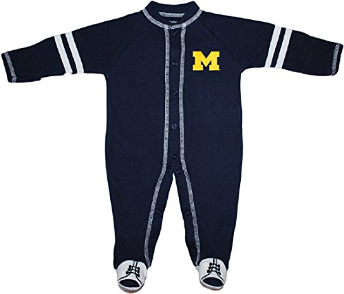 University of Michigan Wolverines Block M Sports Shoe Footed Baby Romper