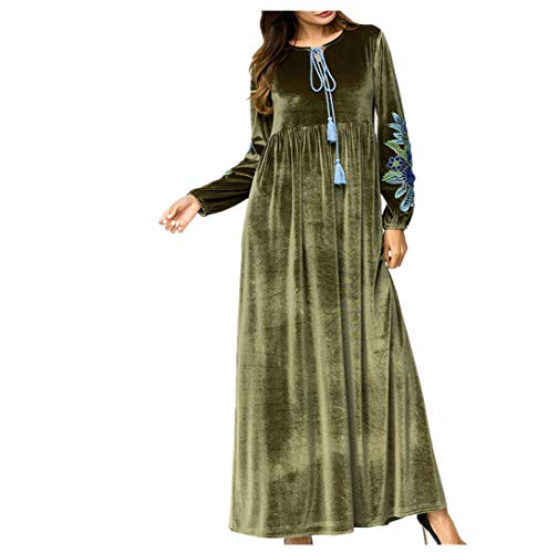 fa21fcec069a Abbigliamento Zhbotaolang Donne Casual Allentato Ramadan Abaya Musulmano Le  Abito Elegante Verde Islamico rB8xwrOq